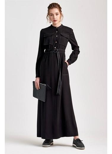 Vivencia Cep Ve Kemer Detaylı Maxi Boy Siyah Günlük Elbise Siyah